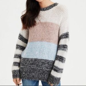 AEO Jegging Fit Striped Colorblock Sweater Wool